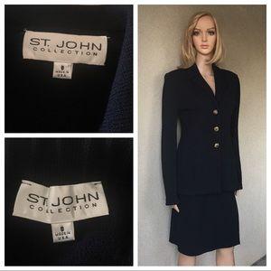 St. John collection knit black jacket/skirt size 8